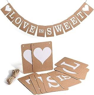 LOVE IS SWEET Banner- Vintage Wedding Bunting Banner Photo Booth Props Signs Garland Bridal Shower Wedding Decoration, Wedding Reception Engagement Valentines Day