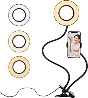 Diyife Anillo de Luz Selfie[Nueva Versión] LED Luz Anular con Soporte para Teléfono Brazo Largo Flexible 3 Modos de Iluminación para Youtube Transmisión en Vivo Maquillaje Fotografía Vlog