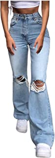 MASZONE Y2K Jeans for Women Stretch Skinny Ripped High Waisted Jeans Flare Leg Bell Bottom Denim Pants Trousers