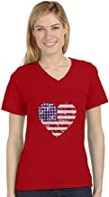 American Heart Flag USA Patriotic 4th of July Women's Fitted V-Neck T-Shirt