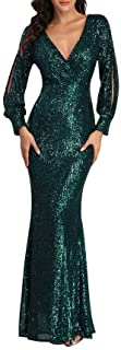 Women's Shinny Sequin Mermaid Evening Dress Sleeve Prom Gown