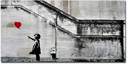 Pyradecor Banksy Grafitti Girl with Red Balloon Large Modern Gallery Wrapped Giclee Canvas Prints Artwork Grey Love Pictures Paintings on Canvas Wall Art for Living Room Bedroom Home Decorations