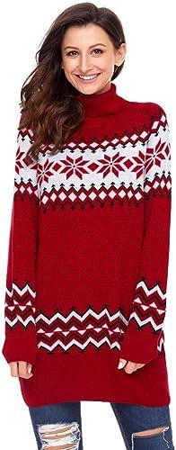la red entera más baja Olydmsky Trajes de Navidad Adulto,Copo de Nieve Nieve Nieve Manga Larga Cuello Alto de Navidad Imprimir Jersey Lana suéter Casual de Punto Jersey Navidad y Moda Desgaste  ventas al por mayor