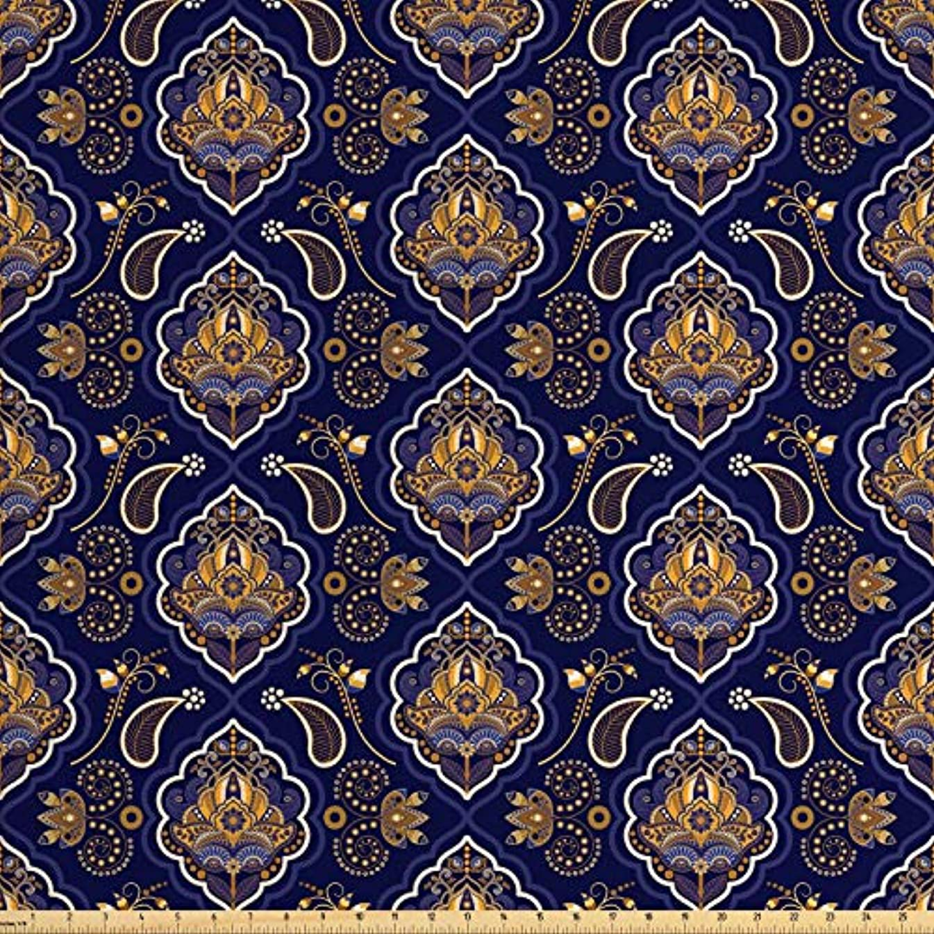 Lunarable Paisley Fabric by The Yard, Ethnic Tribal Pattern with Arabesque Effects and Floral Ornaments Print, Decorative Fabric for Upholstery and Home Accents, 1 Yard, Indigo and Ginger