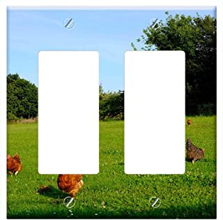 Switch Plate Double Rocker/GFCI - Chickens Poultry Animal Happy Hens Farm Livestock