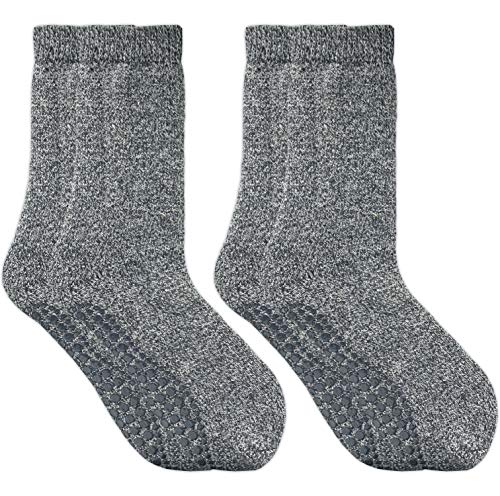 GAWILO 2 Paar Damen Stoppersocken – ABS Socken – Wollsocken – ohne drückende Naht – kuschelige Innenfrottee – ideal bei kalten Füßen (35-38, dunkelgrau)
