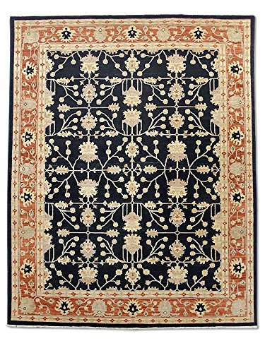 Pak Persian Rugs Handgeknüpfter Ushak Teppich, Schwarz, Wolle, Medium, 243 X 295 cm