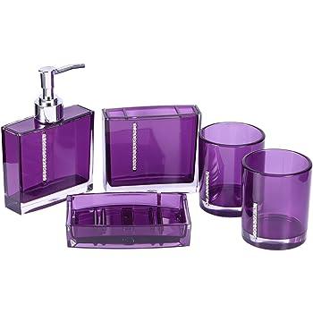 Nero Set da 5 Accessori per Il Bagno in Acrilico Flacone di emulsione Portaspazzolino Portasapone Tazza per Gargarismi