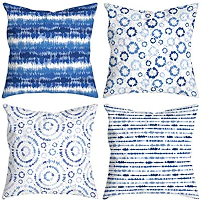 Amazon - 50% Off on Blue Pillow Covers Boho Throw Pillow Covers Set of 4 Decorative Pillow