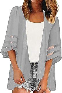 IBAKOM Donna Chiffon Cardigan Estivo Coprire Manica a 3//4 Frontale Aperto Coprispalle Maglia Top Sciolti Kimono Stampa Floreale