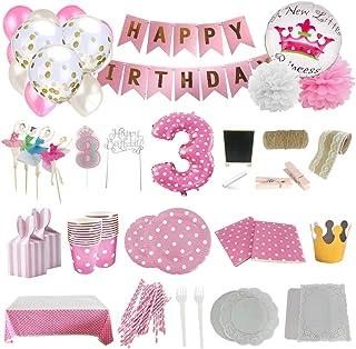 Set de Artículos Accesorios Completo para Decoración Fiestas Cumpleaños bebé Niña de 3 año Lote de