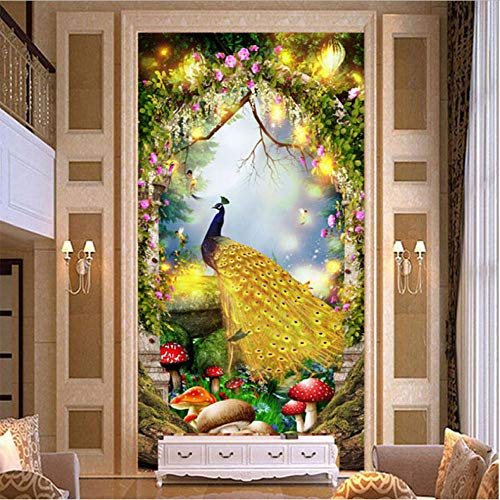 Pbbzl Hoge kwaliteit Europese stijl Golden Peacock 3D muurschildering sprookjesbos fotobehang hotel woonkamer ingang luxe frezen 280 x 200 cm.