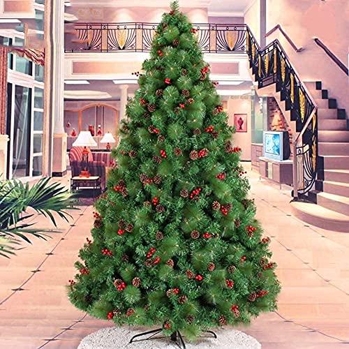 ZYDSN Árbol de Navidad artificial decorado árbol de Navidad completo abeto, con bisagras y soporte de metal para vacaciones de temporada (color verde; tamaño: 150 cm)