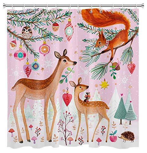HVEST Weihnachtsbaum Duschvorhang Winter Wald Märchen Tiere Schneeflocke Hirsch Eichhörnchen Lustig Kinder Urlaub Badezimmer Dekor Set Stoff Wasserdicht Bad
