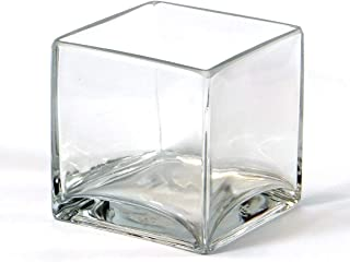 """Vasefill 6-Pack Clear Square Glass Vase - Cube 4 Inch 4"""" X 4"""" X 4"""" - 6pc Six Vases 4x4x4"""
