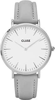 CLUSE La Bohème Silver White Grey CL18215 Women's Watch 38mm Leather Strap Minimalistic Design Casual Dress Japanese Quartz Elegant Timepiece