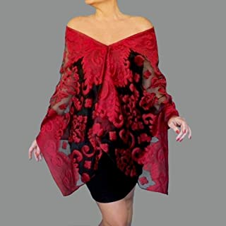 078447f8ca711 Red Evening Wrap Black Organza Shawl Sheer Scarf Stole By ZiiCi