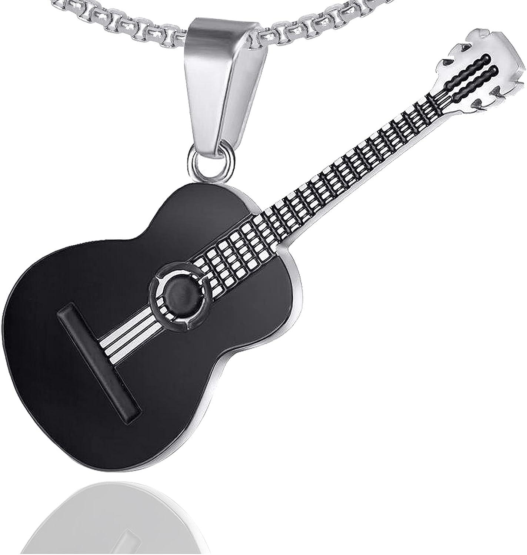 Xusamss Punk Rock Music Style Titanium Steel Guitar Pendant Necklace,24inches Box Chain