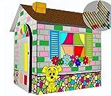 Littlefun Kinder faltbare Karton Spielhaus Kit Kind Premium-Papier Spielhaus Bau Marker enthalten...