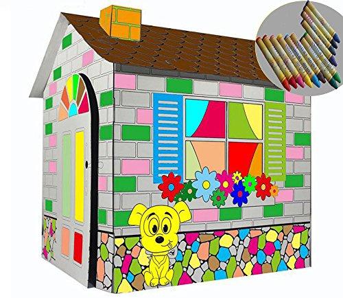 LITTLEFUN La mia casa da Gioco Pieghevole da colorare per Bambini DIY Giocattolo di Cartone Ondulato(Cottage dei Cartoni Animati)