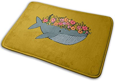 Floral Whale Carpet Non-Slip Welcome Front Doormat Entryway Carpet Washable Outdoor Indoor Mat Room Rug 15.7 X 23.6 inch