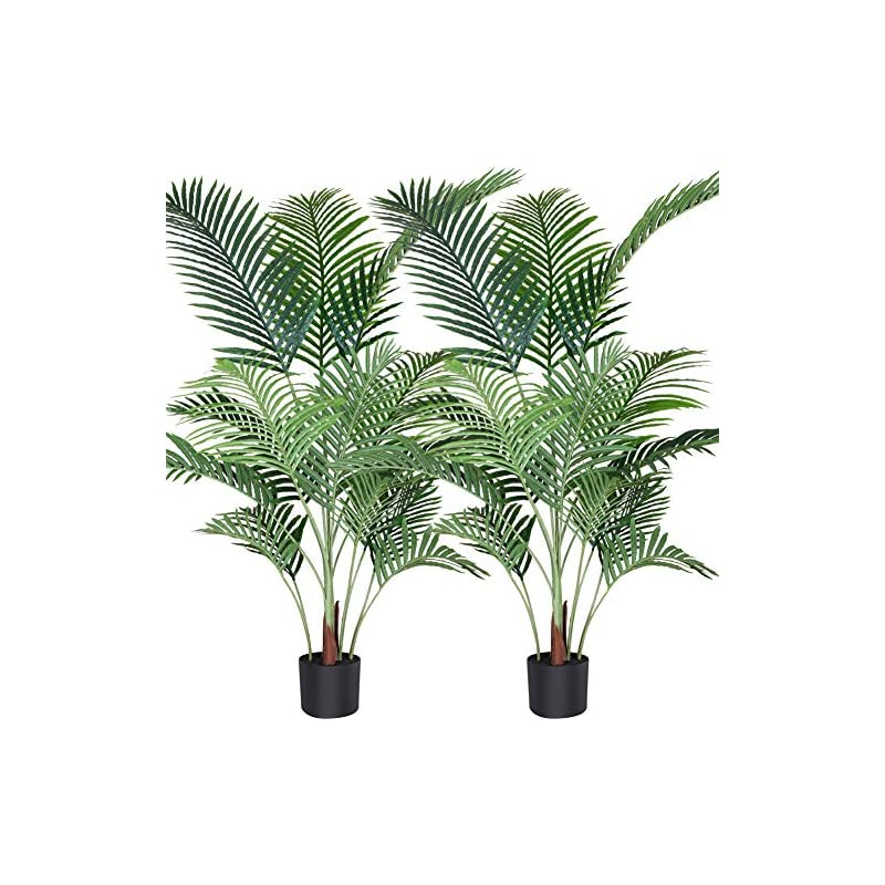 silk flower arrangements fopamtri artificial areca palm plant 4.6 feet fake palm tree with 15 trunks faux tree for indoor outdoor modern decor feaux dypsis lutescens plants in pot for home office housewarming gift, 2 pack