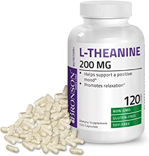 L-Theanine 200mg (Double-Strength) with Passion Flower Herb - Reducing Stress and Promoting Relaxation Without Sedation - Non GMO Gluten Free Soy Free Formula, 120 Capsules