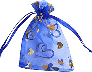 Chusweetlove Cute Sheer Drawstring Organza Jewelry Bag Party Favor Wedding Candy Gift Pouch 3.5x4.7 inches, 100pcs Pack (Blue)