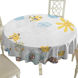 striped round tablecloth Inch Nursery Jolly Jungle Creatures Happily Walking Sunny Day Cute Animals Yellow Pale Blue Pale Green Great for traveling  amp  More