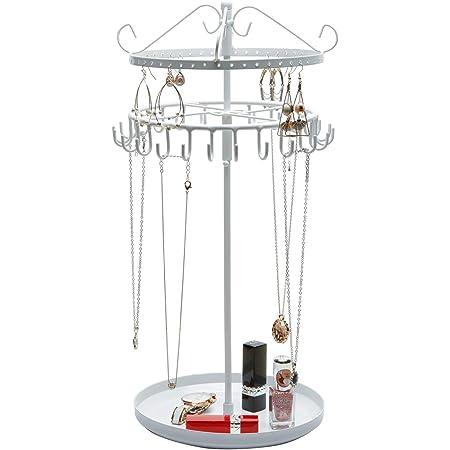 OROPY Présentoir à Bijoux Rotatif, Porte-Bijoux à Deux Niveaux en Métal, Organisateur pour Pendentifs, Boucles d'oreille, Colliers, Bracelets, Blanc