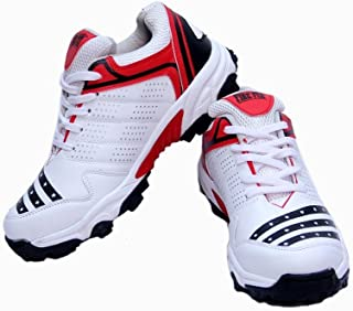 C&W Men's White Red Batting Cricket Sport Shoe All Rounder with Imported Sole Performance Light Weight Ultimate Trainer PU Athletic Shoes