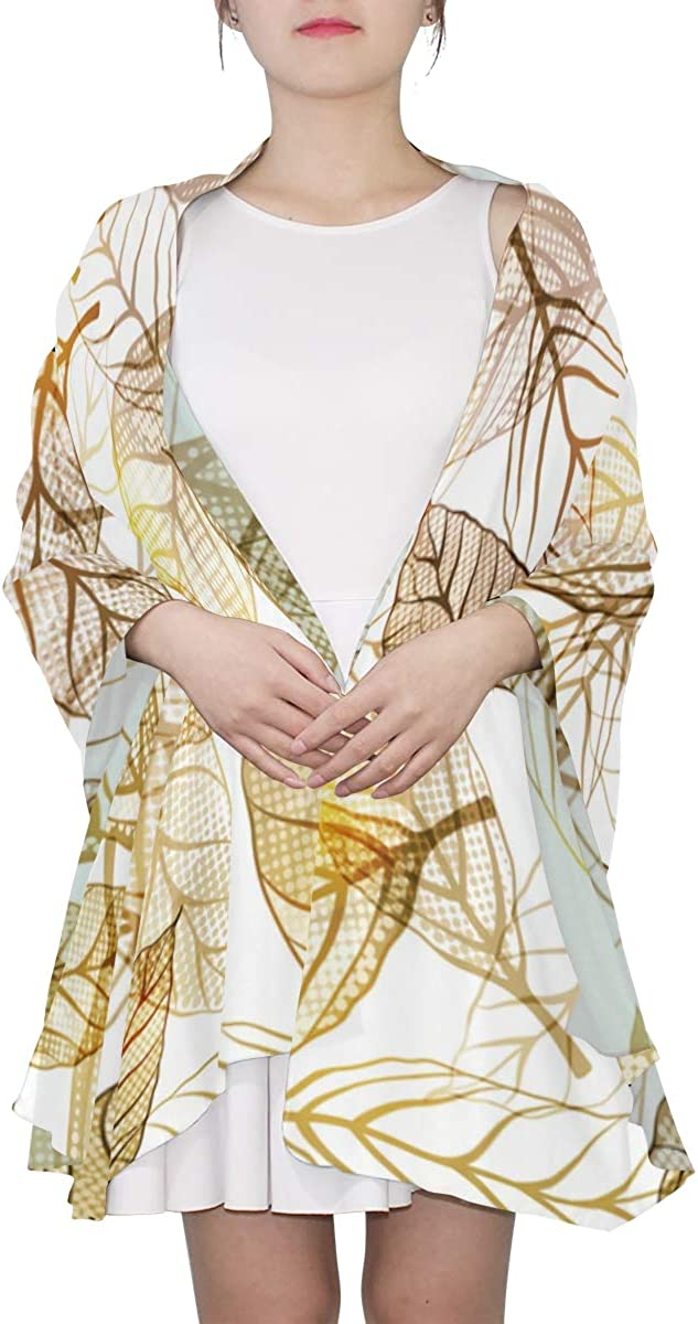 Gold Leaf Autumn Leaves Unique Fashion Scarf For Women Lightweight Fashion Fall Winter Print Scarves Shawl Wraps Gifts For Early Spring