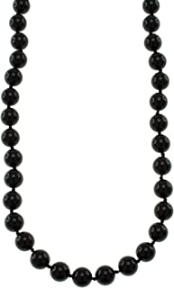 Natural Black Onyx Round Beads Knotted Endless Strand Necklace for Women