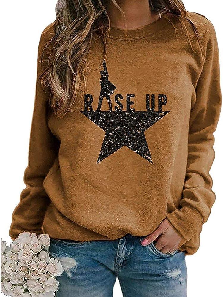 Elosele Women's Rise Hamilton Shirt Long Sleeve Round Neck Casual Loose Fit Pullover Sweatshirt