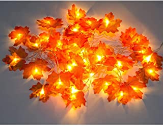 LED outdoor battery powered operated Twinkle Lights, 9.8 Feet 20 LED fall garland Maple Leaves Fairy String Lights for Ind...