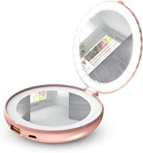 VinSa LED Lighted Travel Makeup Mirror, Multifunctional Makeup Mirror Portable Charger (Rose Gold)