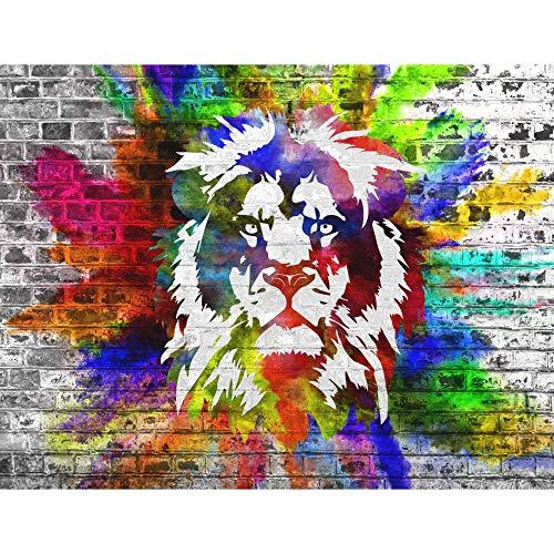Fototapeten Bunter Löwe Wand Tapete Wohnzimmer Schlafzimmer Büro Flur Dekoration Wandbilder Moderne Wanddeko Streetart Graffiti Tapeten,200cmX140cm(78.7 by 55.1 in)