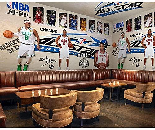 Living Equipment Mural de pared Papel tapiz 3D Mural no tejido Foto de pared Art Mural Sala de estar Dormitorio Televisión Oficina Restaurante Murales Decoración del hogar-NBA Basketball Arena Star