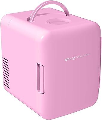 Frigidaire - Mini refrigerador personal portátil compacto, enfría y calienta, 4 L de capacidad, enfría 6 latas de 354.8 ml, 100% libre de freón y respetuoso con el medio ambiente, incluye conectores para toma de casa y cargador de coche de 12 V, color rosado