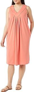 فستان AmeriMark نسائي بدون أكمام - فستان الفناء بطول الركبة برقبة على شكل حرف V