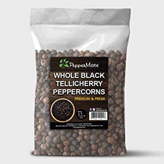 PepperMate Gourmet Tellicherry Peppercorns, 12 Ounce Resealable Bag of Finest Whole Peppercorns, Spicy Black Peppercorns f...