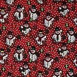Fabric Freedom Stoff mit rotem Schneemänner im