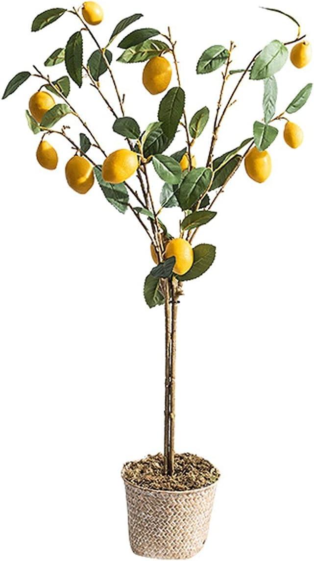 ROM Árboles Artificiales Plantas en Maceta La Planta Artificial Planta pequeña en Maceta Decora la Flor Artificial Limonero, 37 Pulgadas de Alto, es una Buena opción Tanto en
