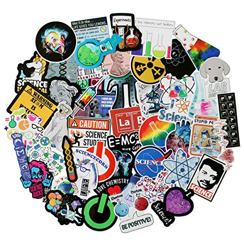 NineGirl Student Science Laboratory Stickers Physics Chemistry Biology Experiment Science Stickers Pack 50 Pcs Suitcase Stickers Vinyl Decals for Car Bumper Helmet Luggage Laptop Water Bottle