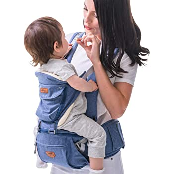 SUNVENO Baby Hipseat Ergonomic Baby Carrier Soft Cotton 6 in 1 Safety Infant Newborn Hip Seat for Outdoor Travel 0-36 Months (Blue)