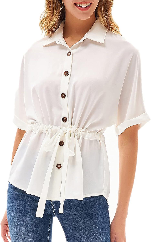GRACE KARIN Women's V Neck Button Down Shirt Bat Roll-up Sleeve Drawstring Casual Work Blouses