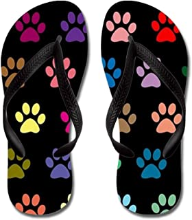 CafePress - Colorful Puppy Paw Prints Pattern - Flip Flops, Funny Thong Sandals, Beach Sandals