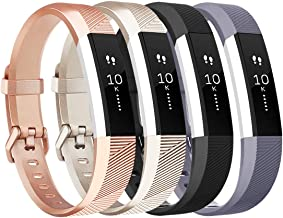 Tobfit 4 Pack Bands Compatible with Fitbit Alta Bands/Alta HR, Soft TPU Classic Accessories Replacement Bands Compatible with Alta HR/Ace, Small Large