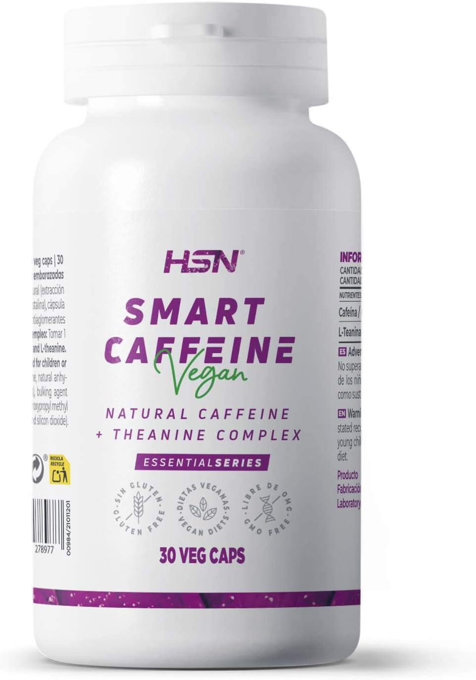 Cafeína con Teanina de HSN | Smart caffeine | Pastillas para estudiar y mejorar el rendimiento mental | Motivación y Concentración | Vegano, Sin Gluten, Sin Lactosa | 30 Cápsulas Vegetales