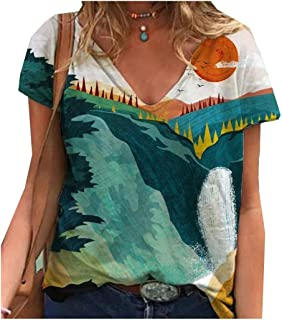 SportsXX Women's Short Sleeve V Neck Summer Casual Floral Print Blouse Tees
